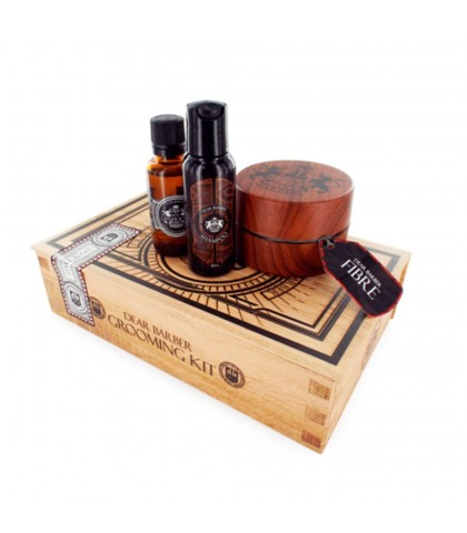 DEAR BARBER KIT FIBRA + CHAMPU + COLONIA
