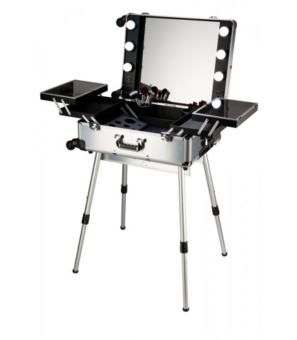 BRIEFCASE TROLLEY WITH MAKEUP VANITY SILVER